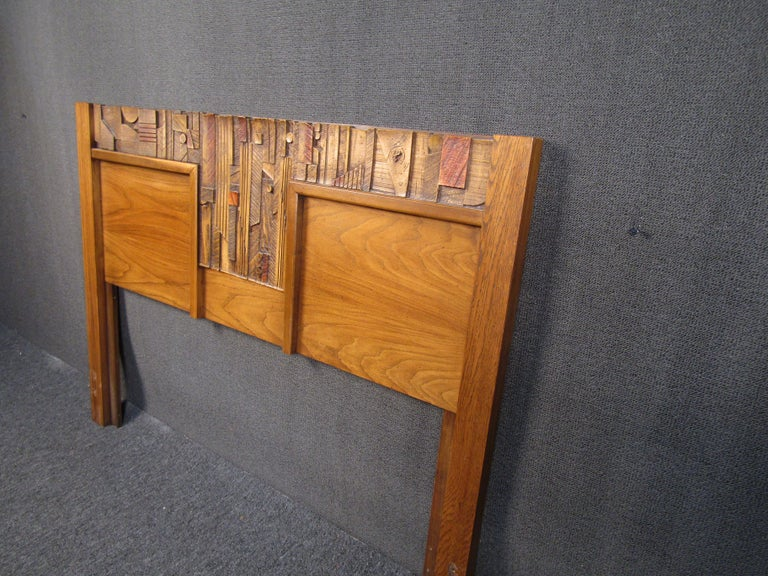 Vintage Brutalist Wooden Headboard by Lane Furniture In Good Condition For Sale In Brooklyn, NY