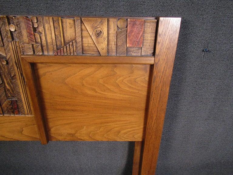 Vintage Brutalist Wooden Headboard by Lane Furniture For Sale 1