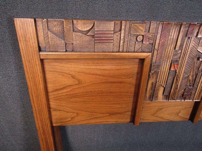 Vintage Brutalist Wooden Headboard by Lane Furniture For Sale 2