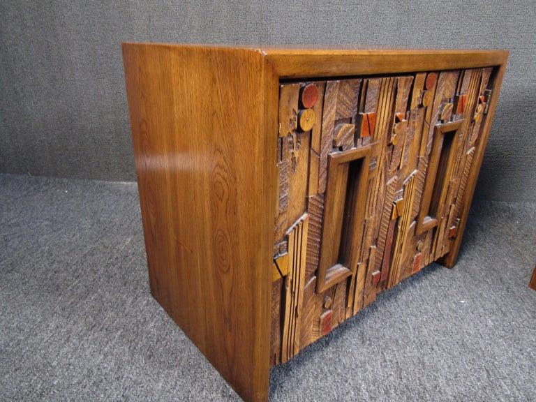 American Vintage Brutalist Wooden Nightstands by Lane Furniture