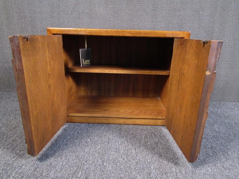 20th Century Vintage Brutalist Wooden Nightstands by Lane Furniture