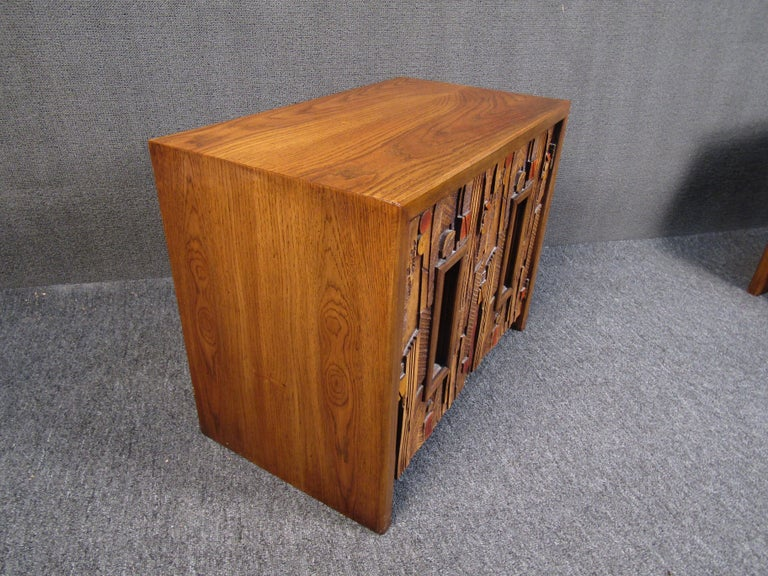 Vintage Brutalist Wooden Nightstands by Lane Furniture 1