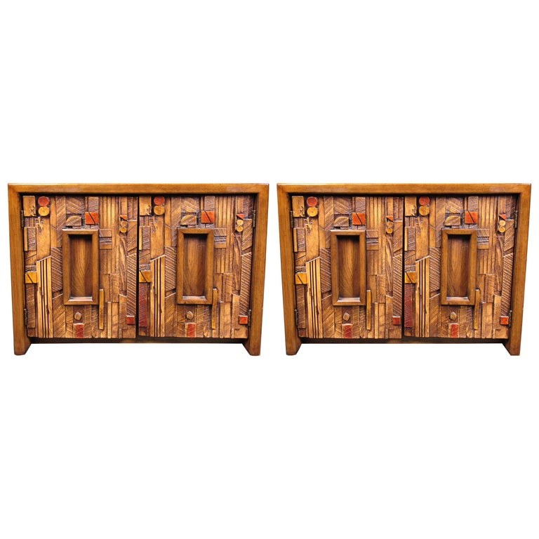 Vintage Brutalist Wooden Nightstands by Lane Furniture