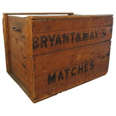 Vintage Bryant And May Matches Large Pine Wooden Industrial Storage Box, 1950s