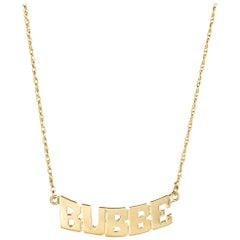 Vintage Bubbe Necklace 14 Karat Gold Grandmother Jewelry Jewish Name Plate
