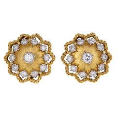 Vintage Buccelatti 18 Carat Gold Diamond Flower Ear Clips