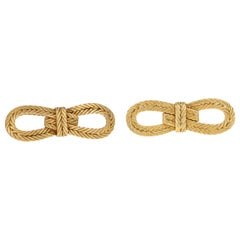 Vintage Buccellati, 18 Karat Yellow Gold Rope Textured Bow Brooches, Pair
