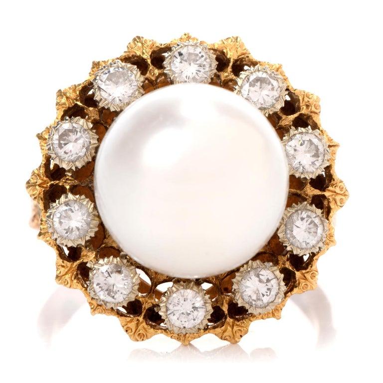 Round Cut Vintage Buccellati Diamond Pearl Flower Halo 18 Karat Ring For Sale