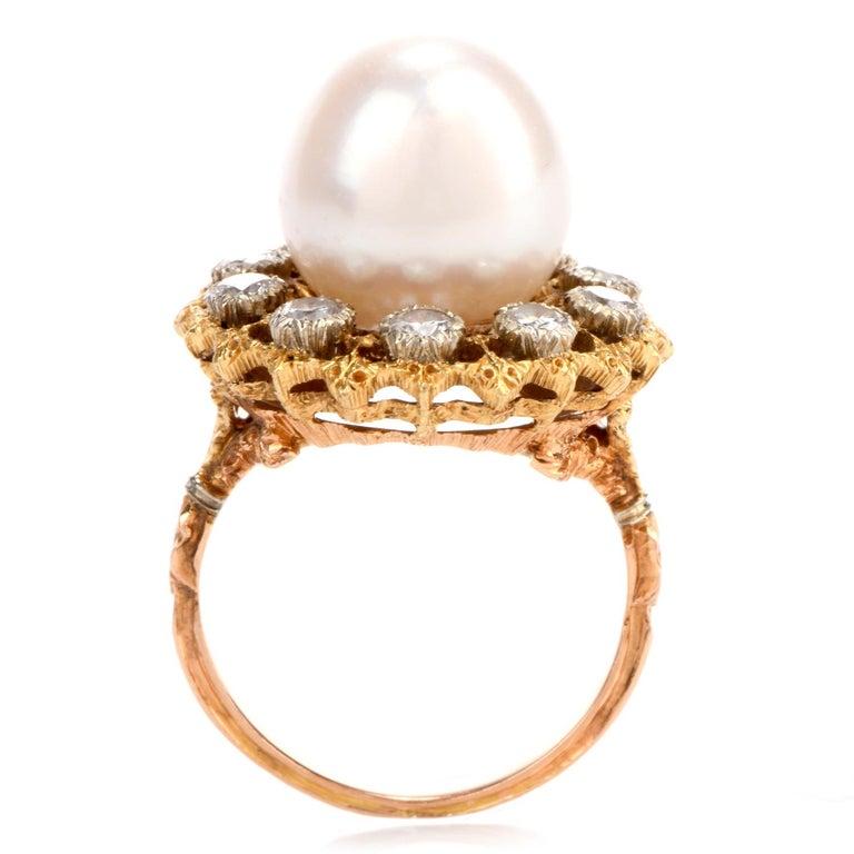 Vintage Buccellati Diamond Pearl Flower Halo 18 Karat Ring For Sale 1