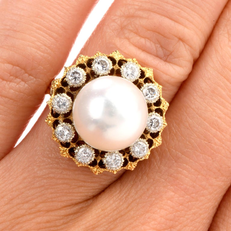Vintage Buccellati Diamond Pearl Flower Halo 18 Karat Ring For Sale 2