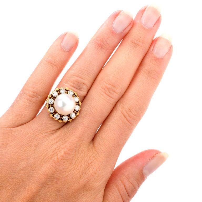 Vintage Buccellati Diamond Pearl Flower Halo 18 Karat Ring For Sale 3