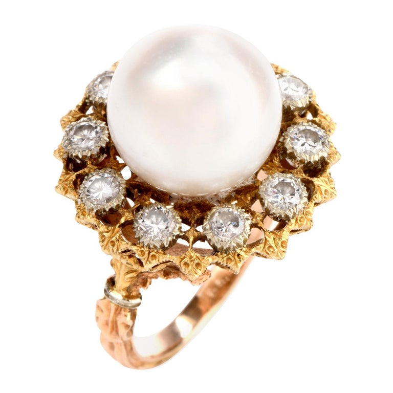 Vintage Buccellati Diamond Pearl Flower Halo 18 Karat Ring For Sale