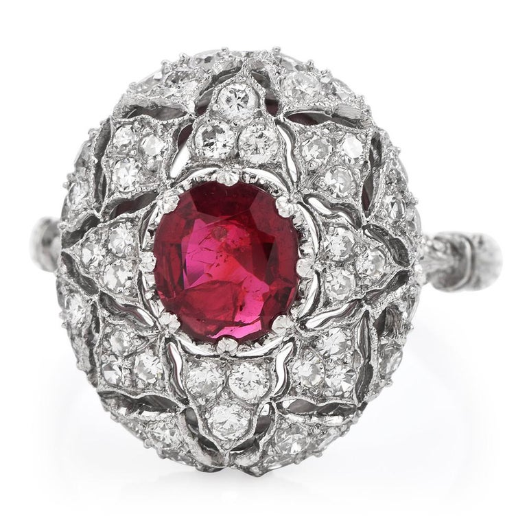 Oval Cut Vintage Buccellati Italy Ruby Diamond Platinum Starburst Engagement Ring For Sale