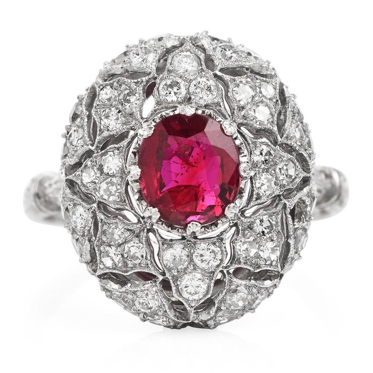 Vintage Buccellati Italy Ruby Diamond Platinum Starburst Engagement Ring In Excellent Condition For Sale In Miami, FL