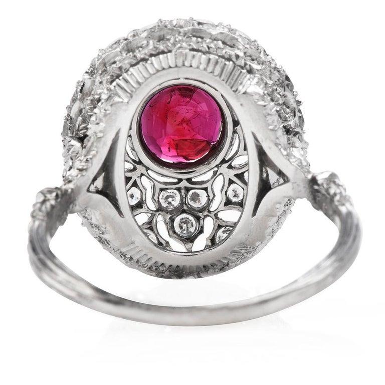 Vintage Buccellati Italy Ruby Diamond Platinum Starburst Engagement Ring For Sale 1