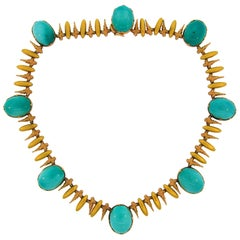 Vintage Buccellati Turquoise Gold Necklace