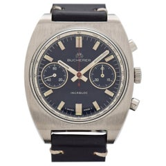 Vintage Bucherer 2-Register Stainless Steel Chronograph Watch, 1970s