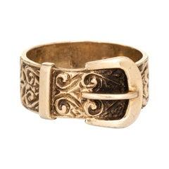 Vintage Buckle Ring English Hallmarks 9k Rose Gold Estate Wedding Band
