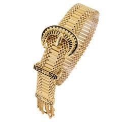 Vintage Buckle Tassel Yellow Gold Adjustable Bracelet
