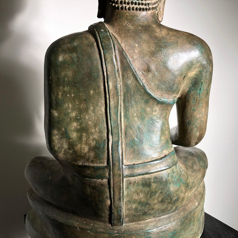Vintage Buddha Calling Earth to Witness Downcast Eyes, Thailand Cast Bronze For Sale 11