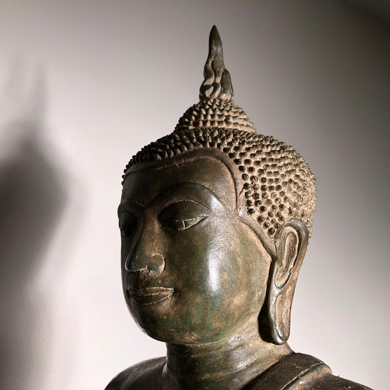 Vintage Buddha Calling Earth to Witness Downcast Eyes, Thailand Cast Bronze For Sale 13