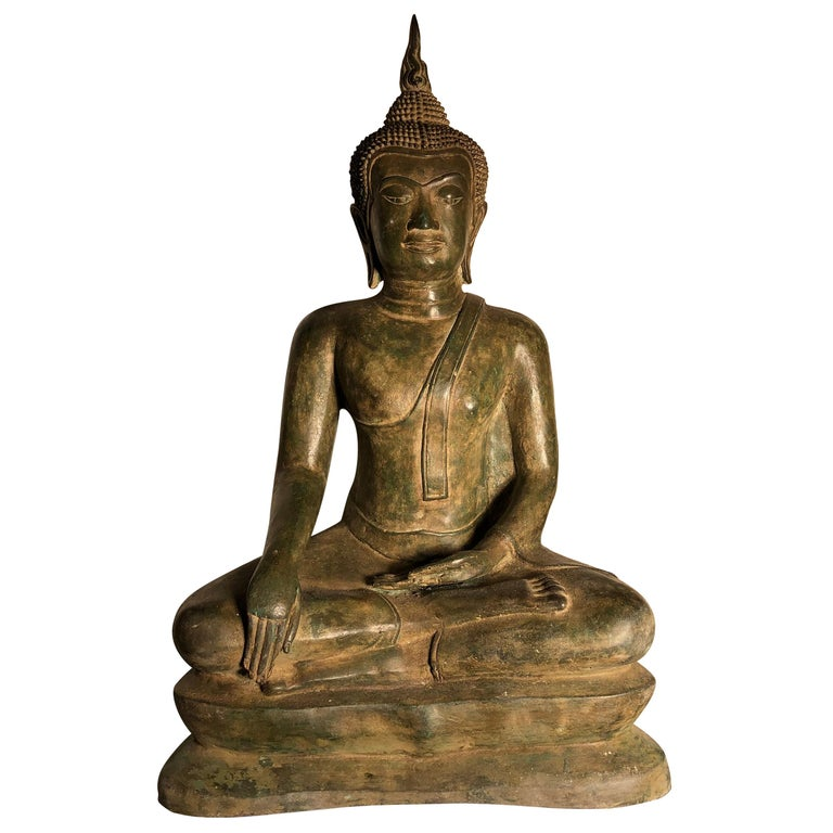 Vintage Buddha Calling Earth to Witness Downcast Eyes, Thailand Cast Bronze For Sale