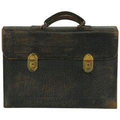Vintage Buffalo Hide Leather Attache Messenger Handbag