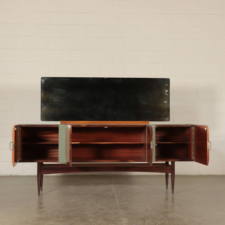 Mid-Century Modern Vintage Buffet with Mirror Italy, 1950s For Sale