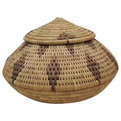 Vintage Bulbous Shape Tribal Pattern Decorative Basket with Lid