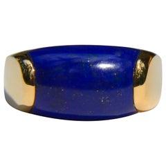 Vintage Bulgari 18 Karat Gold Lapis Lazuli Tronchetto Band Ring