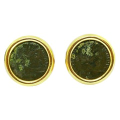 Vintage Bulgari Ancient Coin Yellow Gold Cufflinks