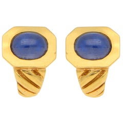 Vintage Bulgari Cabochon Sapphire Clip Earrings in 18K Yellow Gold