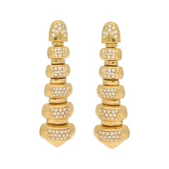 Vintage Bulgari Diamond Drop Earrings in Yellow Gold 1.15 Carat