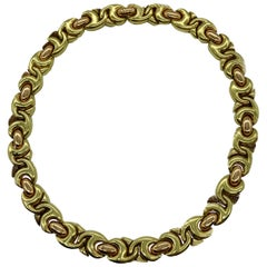 Vintage Bulgari Gancio Two-Color Gold Link Necklace
