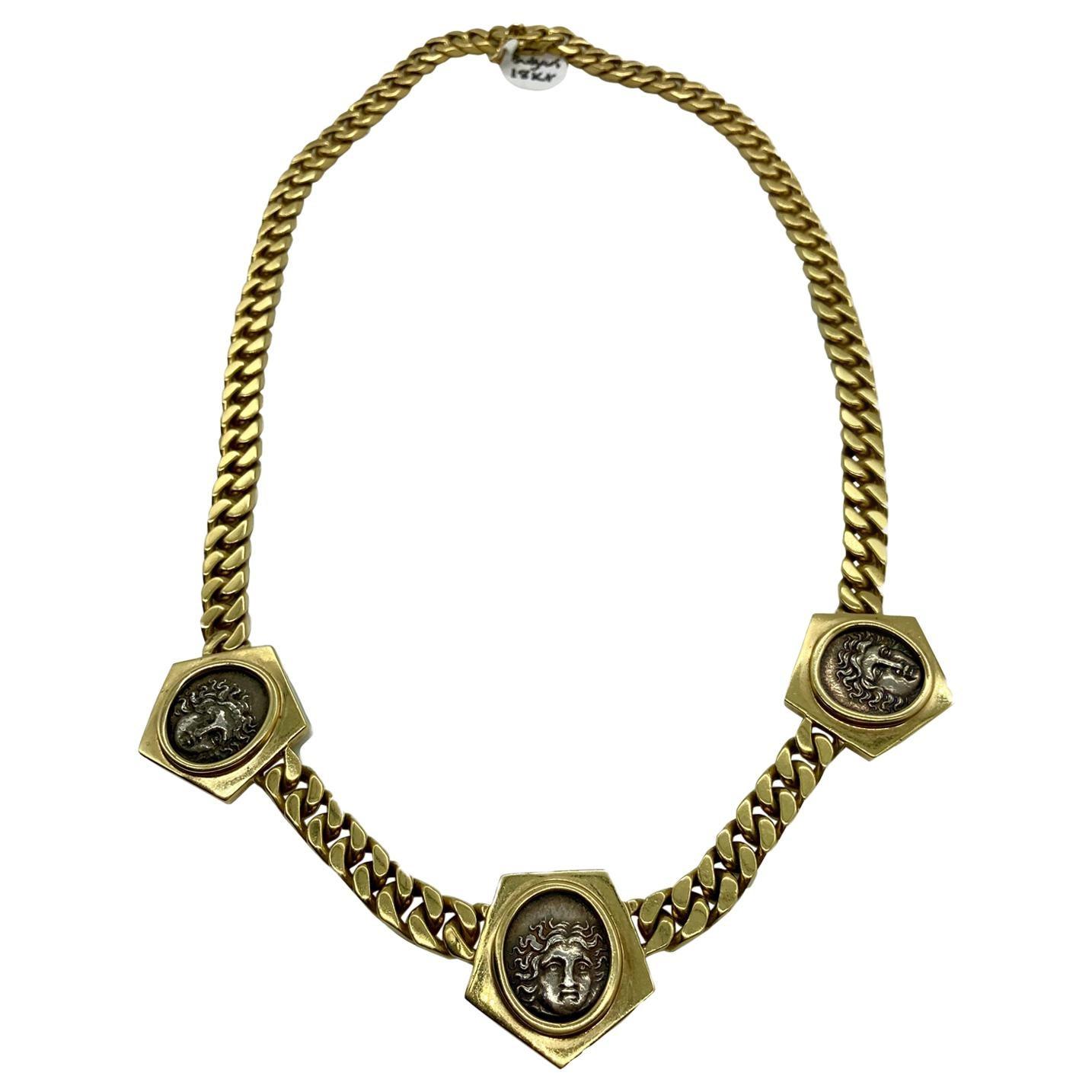 Vintage Bulgari Monete Ancient Greek Coin Chain Necklace