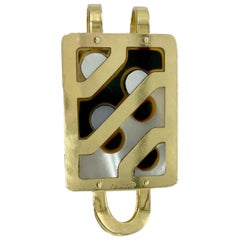 Vintage Bulgari Mother of Pearl and Onyx Money Clip
