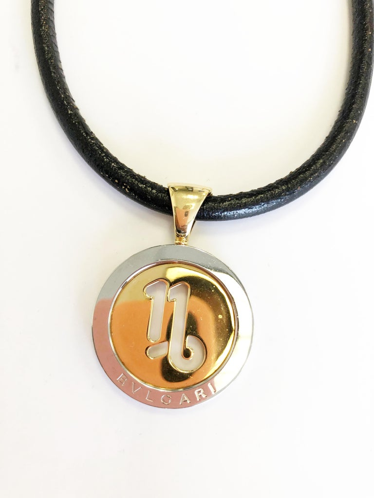 Vintage Bulgari Necklace in 18 Karat Yellow Gold and Steel In Excellent Condition For Sale In Los Angeles, CA