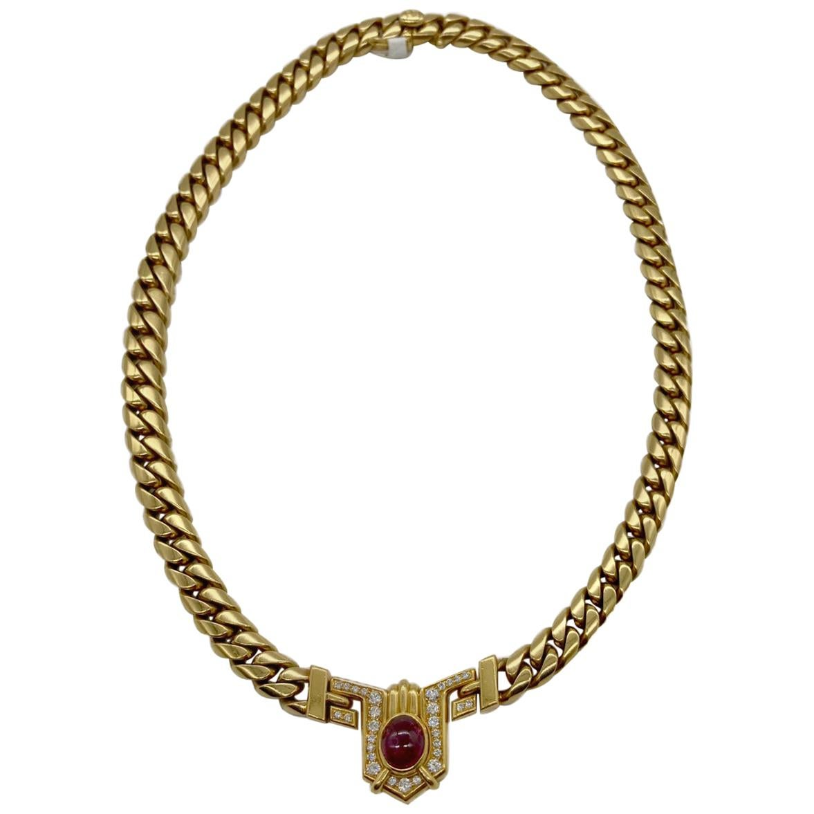Vintage Bulgari Ruby and Diamond Yellow Gold Chain Necklace