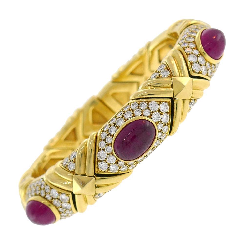 Vintage Bulgari Ruby Diamond Gold Bracelet Bangle Bvlgari