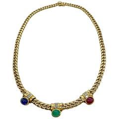 Vintage Bulgari Ruby, Emerald, Sapphire, Diamond Gemstone Necklace