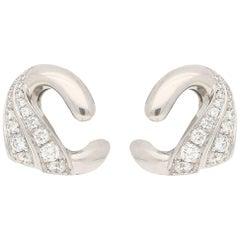 Vintage Bvlgari Diamond Clip-On Earrings in White Gold