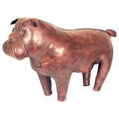Vintage Bulldog Leather Ottoman, Dimitri Omersa for Abercrombie & Fitch, 1970s