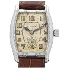 Vintage Bulova 14 Karat White Gold-Plated Watch, 1929