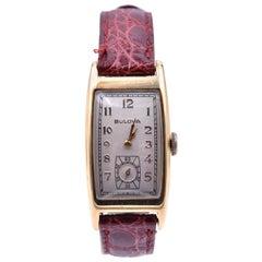 Vintage Bulova 14 Karat Yellow Gold Watch on Alligator Strap