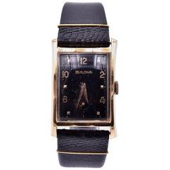 Vintage Bulova 14 Karat Yellow Gold Watch on Black Leather Strap