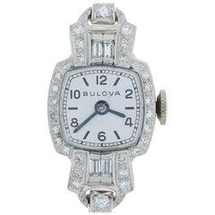 Vintage Bulova Diamond Ladies Watch 900 Platinum & 14k Gold Mechanical 2Yr. Wnty