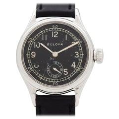 Vintage Bulova Military WWII-Era Chrome Watch, 1944
