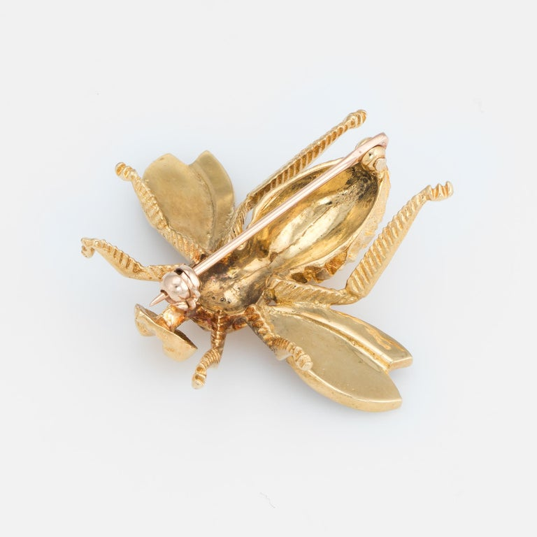 Modern Vintage Bumble Bee Brooch Pin 14 Karat Gold Blue Enamel Wings Estate Jewelry For Sale