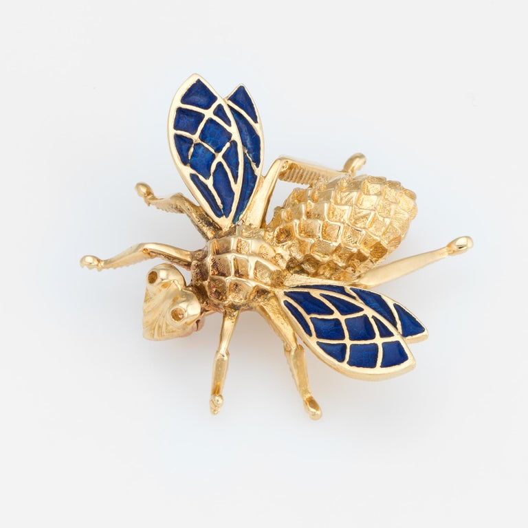 Vintage Bumble Bee Brooch Pin 14 Karat Gold Blue Enamel Wings Estate Jewelry In Excellent Condition For Sale In West Hills, CA