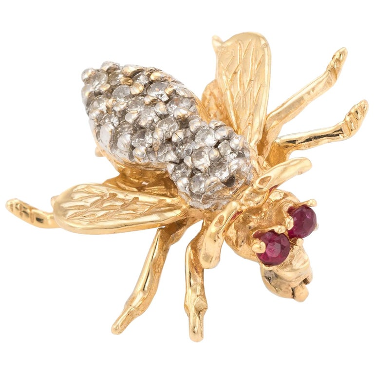dcb355f8784 Vintage Bumble Bee Brooch Pin Diamond Ruby 14 Karat Yellow Gold Insect  Jewelry For Sale